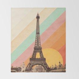 Rainbow Sky Above The Eiffel Tower Throw Blanket