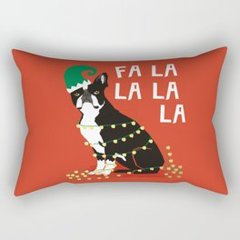 Boston Terrier Elf Christmas holiday art print with cute small dog breed terrier dog lover gift idea Rectangular Pillow