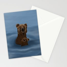 Grizzly Bear Mama and Her Cub Swimming Stationery Cards