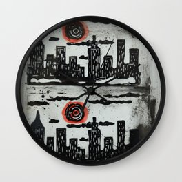 Red Sun Red Moon Wall Clock