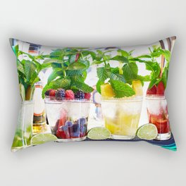 Fruit and berry cocktails with mint in cafe Rectangular Pillow