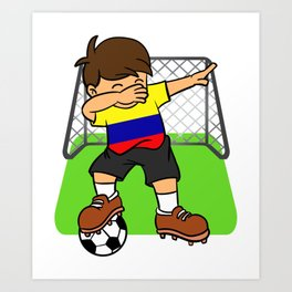 67f75c46e1f Colombia Soccer Ball Dabbing Kid Colombian Football Goal Art Print
