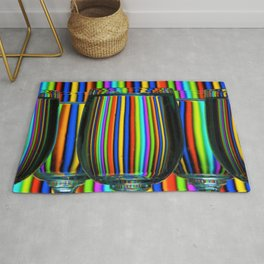 Colored Lines / Wine Glasses Photographic Rug