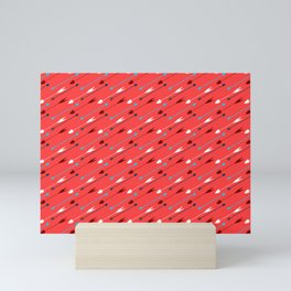 Flying heart shaped arrows print Mini Art Print