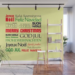 merry christmas in different languages I Wall Mural
