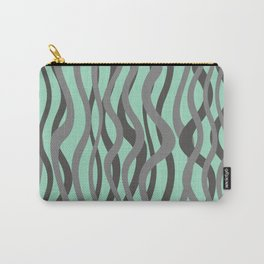 waves grey green background Carry-All Pouch