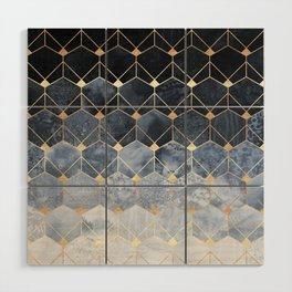 Blue Hexagons And Diamonds Wood Wall Art