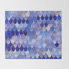 SUMMER MERMAID ROYAL BLUE Throw Blanket