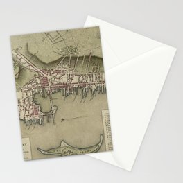 Map of Newport 1777 Stationery Cards