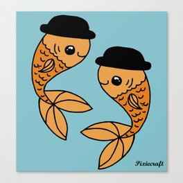 Original Goldfish in Bowler Hats Digital Illustration. Canvas Print