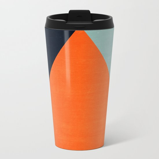 mod triangles - autumn Metal Travel Mug