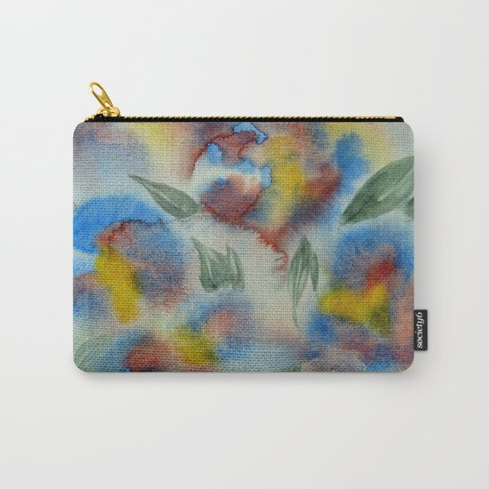 Abstract Flowers Blue Watercolor Carry-All Pouch
