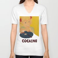cocaine V-neck T-shirts featuring Sweet sweet cocaine... by Albertine et Gedeon