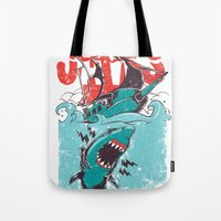 jaws Tote Bags featuring Jaws by Tshirt-Factory