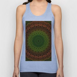 Mandala in green and red tones Unisex Tank Top