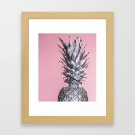 Silver and pink tropical pineapple Framed Art Print