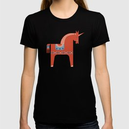 Scandinavian Inspired Folkstory - Red + Blue T-shirt