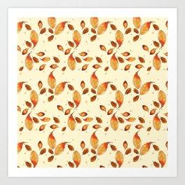 Scattered Autumn Leaves Art Print