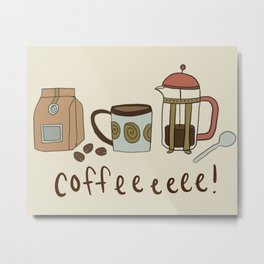 Coffee Love Patten / Cute Coffee Design / Caffeine Addict / Coffee Art / French Press / Coffee Shop Metal Print