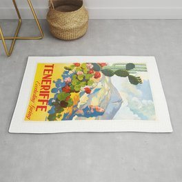 1945 Tenerife Everlasting Spring Spain Travel Poster Rug