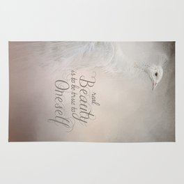 Real Beauty is to be True To Oneself White Peacock Rug