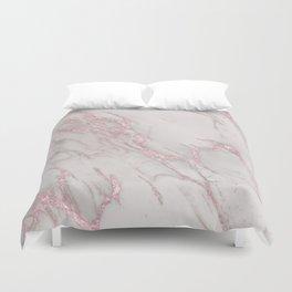 Marble Love Rose Gold Pink Metallic Duvet Cover