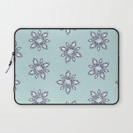 Jewelbox: Diamond Brooch Repeat in Eggshell Aqua Laptop Sleeve