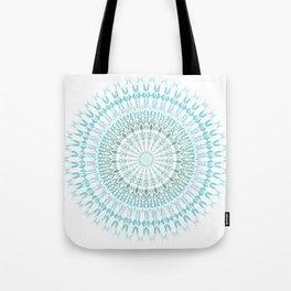 Turquoise White Mandala Tote Bag
