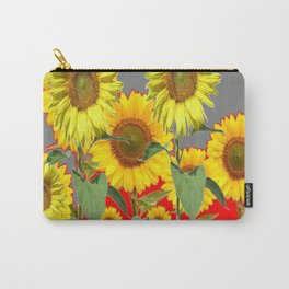 WESTERN STYLE  GREY-RED COLOR YELLOW SUNFLOWERS Carry-All Pouch