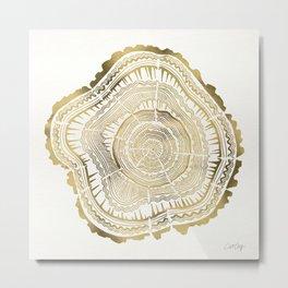 Gold Tree Rings Metal Print