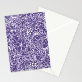 Modern white handdrawn floral pattern on purple ultra violet illustration Stationery Cards