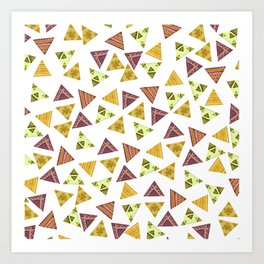 Brown yellow autumn colors hand painted tribal triangles Art Print