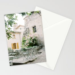 Provence   French restaurant in an idyllic old village with flowers   Travel photography France Stationery Cards