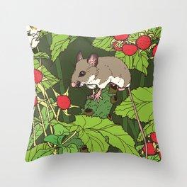 Mouse & Thimbleberry Throw Pillow