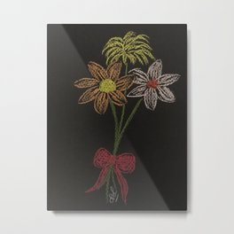 Flowers on blackpaper Metal Print
