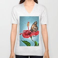 Butterfly on flower 2 Unisex V-Neck
