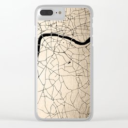 London Gold on Black Street Map II Clear iPhone Case