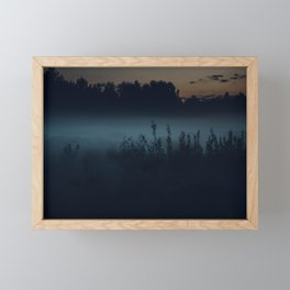 [35] Fog in the evening forest, nature, travel Framed Mini Art Print