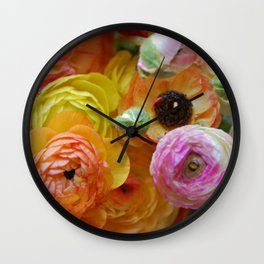 Bunch of Ranunculus Flowers Wall Clock