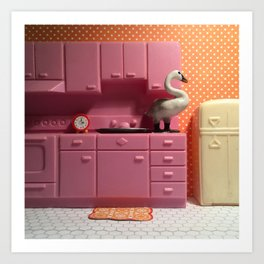 The Swan & The Kitchenette Art Print