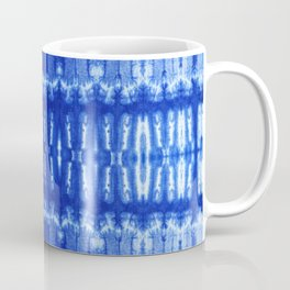 tie dye ancient resist-dyeing techniques Indigo blue textile abstract pattern Coffee Mug