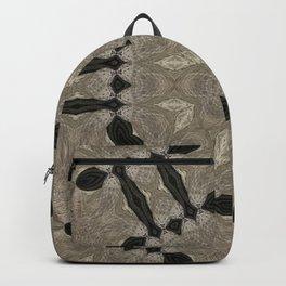 mandala wicker applied star natural color, black background Backpack