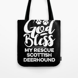God Bless My Rescue Scottish Deerhound Paw Print for Dog Walker Gift Tote Bag