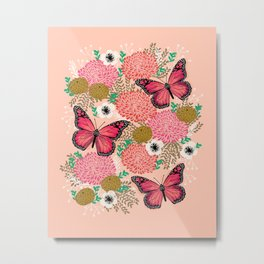 Monarch Florals by Andrea Lauren  Metal Print