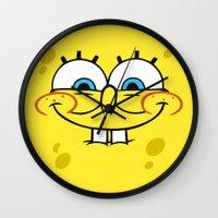 spongebob Wall Clocks featuring Spongebob Naughty Face by Cute Cute Cute