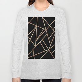 Classic Black Rose Gold Geo #1 #geometric #decor #art #society6 Long Sleeve T-shirt