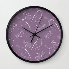 bird cherry blossom pattern purple Wall Clock
