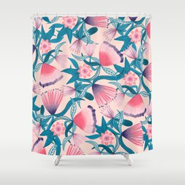 Girly Artsy Pink Teal Hand Painted Floral Pattern Shower Curtain
