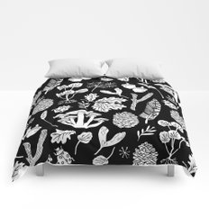 Linocut minimal botanical boho feathers nature inspired scandi black and white art Comforters