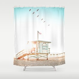 Pelicans Over the 10th Street Lifeguard Tower Shower Curtain